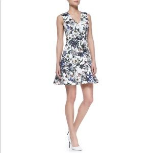 Rebecca Taylor White Floral Print Fit Flare Dress